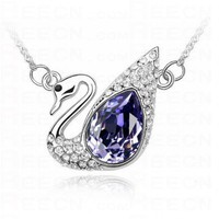 Purple Swarovski Austria Crystal Sterling Silver Swan Pendant