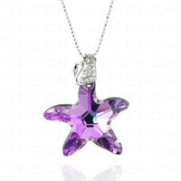 Purple Starfish Swarovski Austria Crystal Swan Pendant