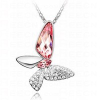 Pink Swarovski Austria Crystal Butterfly Pendant