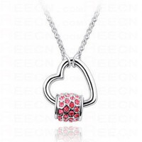 Sterling Silver Hollow Heart with Pink Diamond Bead Pendant