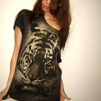 Tiger Animal New Wave Punk Rock Wolf T-Shirt Hand Cut  Size M