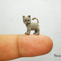 Miniature Gray Cat  Micro Crocheted Cat  Made to Order by SuAmi