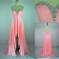 New Style A Line Strapless Sweetheart With Crystal Front Short Long Back Chiffon Prom Evening Dresses from 2013 New Dresses
