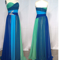Cheap New Style 2013 Long Strapless Sweetheart Chiffon Prom Dresses from 2013 New Dresses