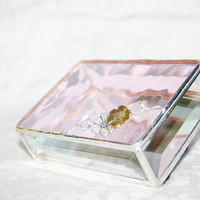 Stained Glass Box Soft Pink 3x4 w/ two Pewtercast by GaleazGlass