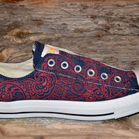 Paisley Converse All Stars  Adult size by lucytwoshoes on Etsy
