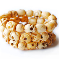 Skull Bone Bracelet  Stack of 3 by theblackfeather on Etsy