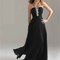 Strap Column Crossing Back Black With Sequins Prom Dress PD0503