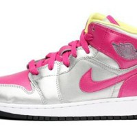 Amazon.com: Nike Girls Air Jordan 1 Mid (GS) / Color: Metallic Silver 555112-037: Shoes