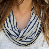 Striped Cowl Scarf, Infinity Scarf, Loop Scarf, Circle Scarf, Nautical Stripes, Navy Blue, Tan