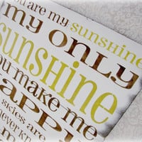 You Are My Sunshine Antiqued Plank Typography by Cellar Designs