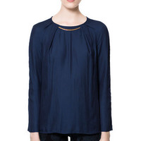 APPLIQU BLOUSE WITH GOLD NECKLINE - Shirts - Woman - ZARA United States