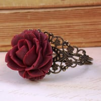 Beautiful Vintage Antique Dark Red Rose Bangle by roomofyourown