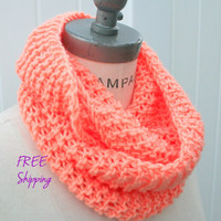 Knit Scarf  Peach Tube Scarf FREE SHIPPING Spring Neckwarmer - By PIYOYO