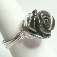 Rose Pewter Gun Metal Silver Wire Wrapped Ring