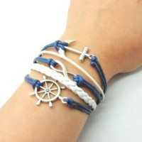 Navy Blue Rope and White Braided Leather Steampunk Adjustable Vintage Silver Karma Bracelet,infinity Wish Anchor Rudder Bracelet 1150r: Jewelry