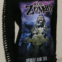 Rob Zombie Tshirt  Top Slashed Long Sleeves Horror Upcycled DIY Bnwt 10/12 UK
