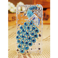 Apple iPhone 4S 4G 3GS iPod Touch Blue Peacock Crystals Transparent Clear Case Birthday Gift - GULLEITRUSTMART.COM