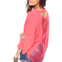 Hold the Fringes Button Down Shirt in Deep Pink :: tobi