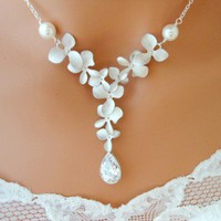 Cubic Zirconia ORCHID Necklace Wedding Bridal White Pearl CZ Silver | Vivian-Feiler-Designs - Jewelry on ArtFire