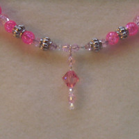Pink Necklace and Earrings by cvjewels on Etsy