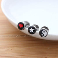girlsluv.it - 316L surgical steel piercing - heart, star, black&white