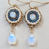 Earrings Opal White Seed Beads Crystals Mosaic by SimoneSutcliffe