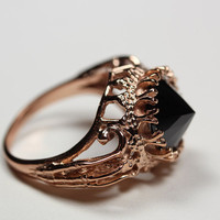 belonging to the darkness. rose gold vermeil & black cz