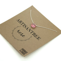 Stone Necklace : Pink Rose Crystal Necklace with White Natural Silk Cord, Delicate, Simple, Bridesmaid, Beach, October Birthstone