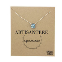 Aquamarine Stone Necklace : Blue Crystal Necklace with Pure White Natural Silk Cord, Delicate, Simple, Bridesmaid, Beach, March Birthstone