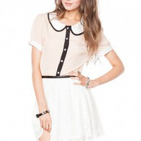Ella peter pan collar short sleeve blouse - ShopSosie.com