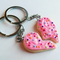 polymer clay pink sugar cookie bff heart halves keychains broken heart best friend sprinkles