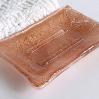Soap Dish in Bronze and White Fused Glass