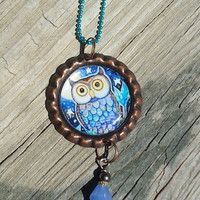 Blue Hoot Owl Bottle Cap Charm Necklace