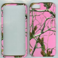 APPLE IPHONE 5 AT&T PHONE FACEPLATE HARD CASE COVER PROTECTOR HARD RUBBERIZED NEW SNAP ON PINK REAL TREE GIRLS HUNTER