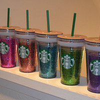 Starbucks grande 16 oz glitter cups!!! You choose color!!!