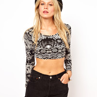ASOS Crop Top in Aztec Print