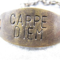 Carpe Diem Hand stamped brass bracelet Seize the by CobwebCorner
