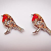 little red robin earrings by jodie anna | notonthehighstreet.com