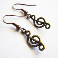 Treble Clef Earrings Music Earrings Music Note by RobertaValle