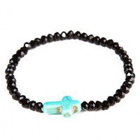 Brandy ♥ Melville |  Cross with jet black beads bracelet - Accessories