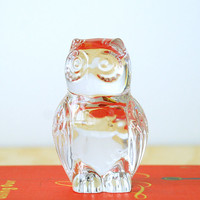 Crystal Owl Statue - Retro Home Decor 80's Lead Crystal