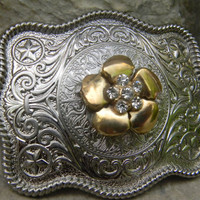 Rhinestone Gold Flower Silver Belt Buckle Western Womens Engraved Belt Buckle