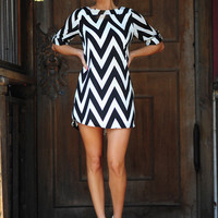 RESTOCK: Everly Joy For Chevron Dress: Black | Hope's