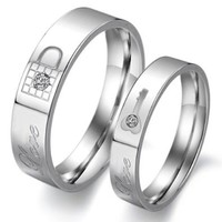 "Titanium Stainless Steel Lock and Key Wedding Ring Promise Ring Couple Wedding Band with Engraved ""Love"" Rhinestone Inlay (Available Sizes: Him 6,6.5,7,7.5,8,8.5,9,9.5,10,10.5,11,11.5,12; Hers 5,5.5,6,6.5,7,7.5,8,8.5,9,9.5,10,10.5): Jewelry"