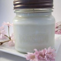 Soy Jar Candle Cherry Blossom Scented Handmade Container Candle