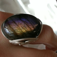 Purple Labradorite Ring, Fuchsia Pink, Natural Stone, Sterling Silver, Custom Sized Ring, Eggplant, Gold