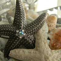 Silver Rhinestone Starfish Belt Buckle