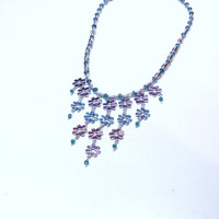 Handmade Beaded Necklace with Flower Chain Dangles