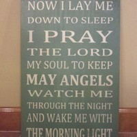 Now I Lay Me Down To Sleep Word Art Typography Wood Sign | SignsofElegance - Children&#x27;s on ArtFire